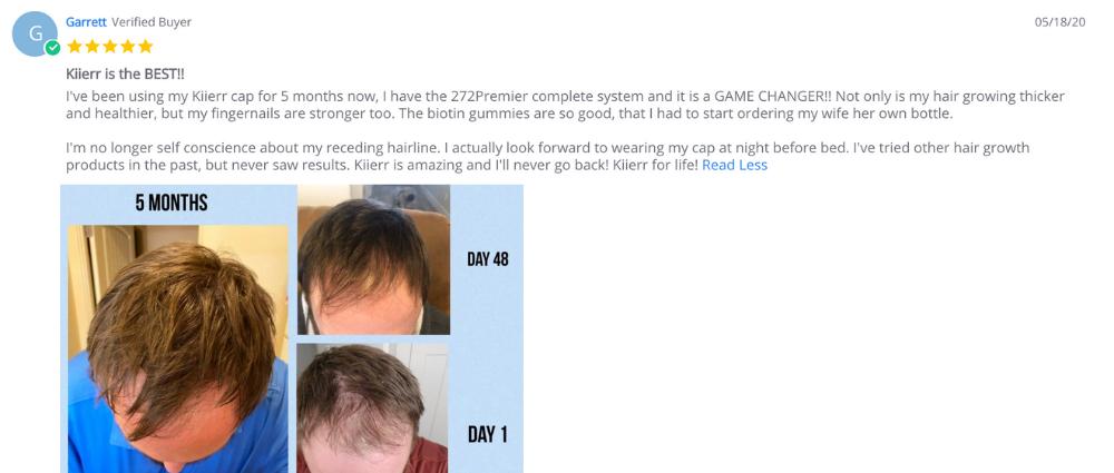 Garrett Kiierr before/after photo testimonial